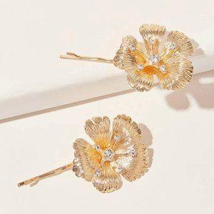 Anthropologie Flower Hair Pin Set
